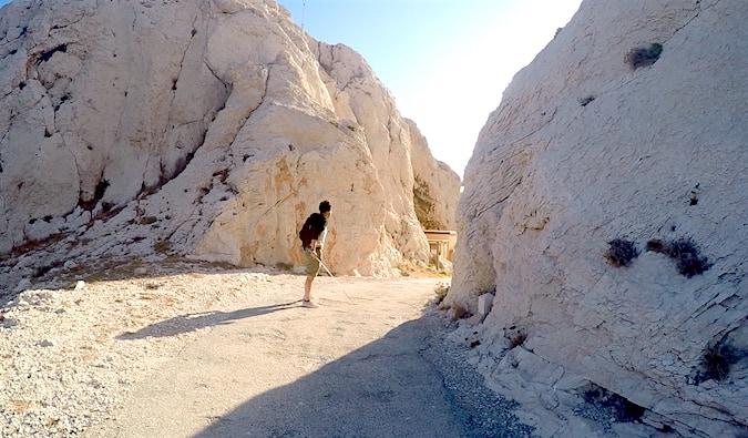 Dan, a blind traveler, on the Iles du Frioul outside of Marseille, France