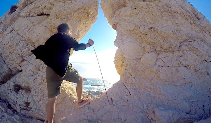 Dan, a blind traveler, enjoying the beautiful view in Iles du Frioul