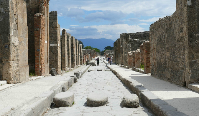 The sweeping vista overlooking Pompeii in italy