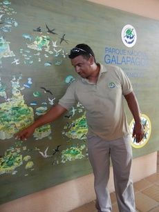 tour group guide in the galapagos islands