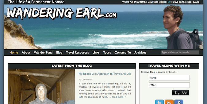the wandering earl travel blog screenshot