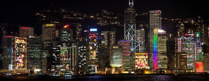 Admiring the Hong Kong skyline while visiting China