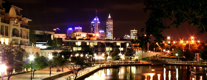 The Perth, Australia skyline glowing at night