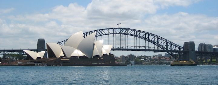 sydney harbor bridge and opera house in australia