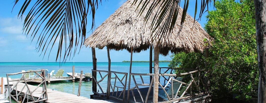 The beautiful blue sky and ocean on the island of Caye Caulker in Belize