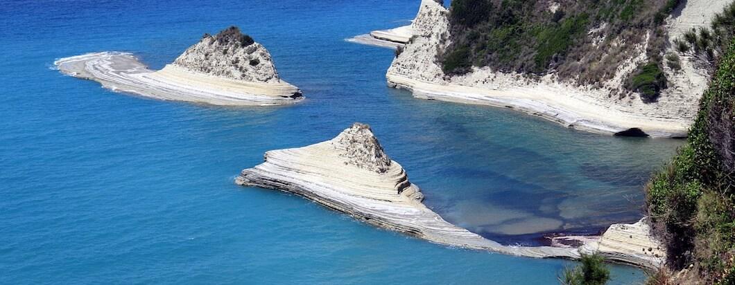 Overlooking the ocean from the seaside in Corfu, Greece