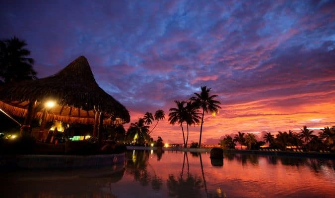 A vivid sunset on the beautiful island of Tahiti