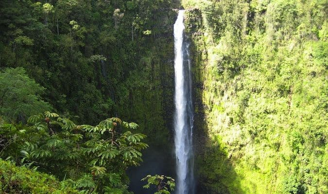 A massive waterfall in the jungles of Hawaii