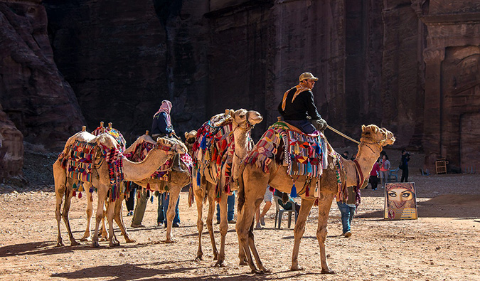 travelers riding camels in Jordan
