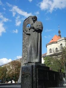 A statue of famous Ukranian writer in Lviv