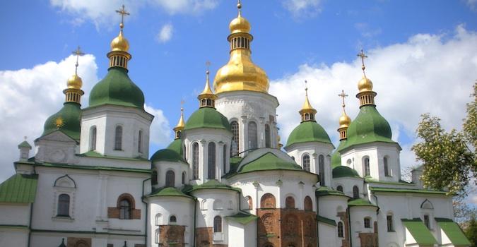 The gorgeous rooftops of Saint Sophia church in Kiev, Ukraine