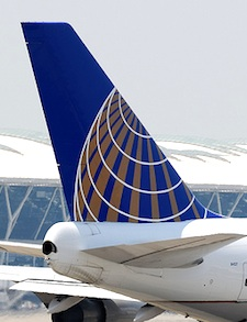 United Airlines airplane tail with logo on it
