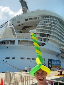 Nomadic Matt having a happy time with a silly hat on his cruise
