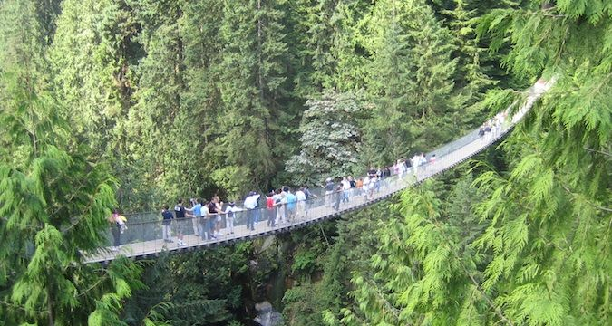 The Vancouver Capiliano rope bridge with adventure-seekers crossing