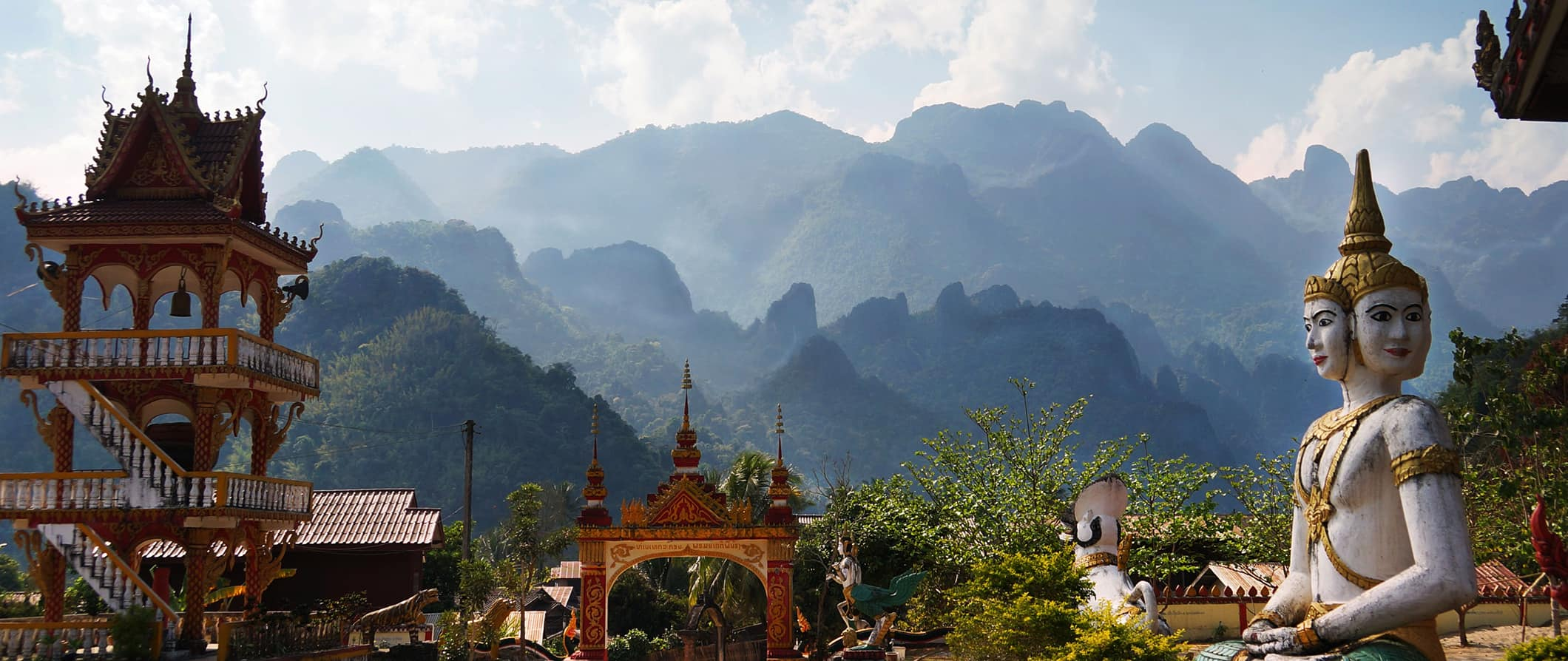 temples and mountains in Vang Vieng