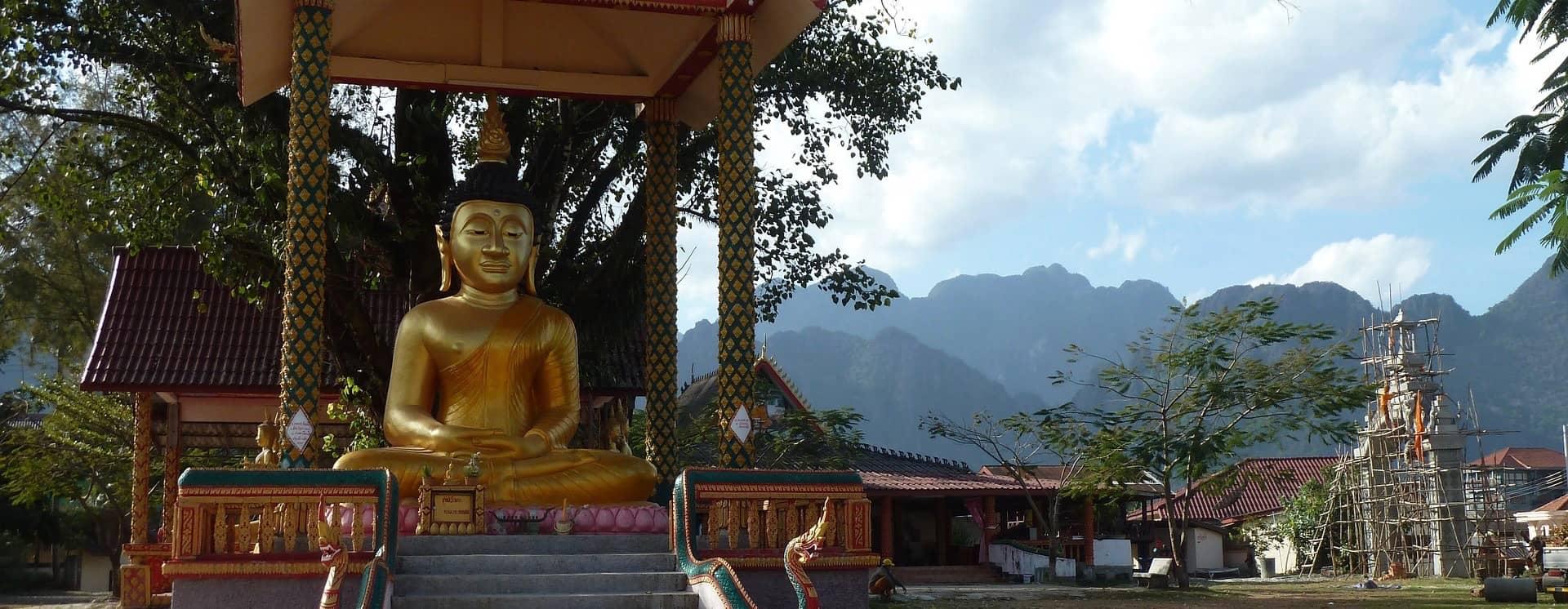 A Buddha statue in Vang Vieng