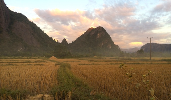 the beautiful countryside of Vang Vieng Laos