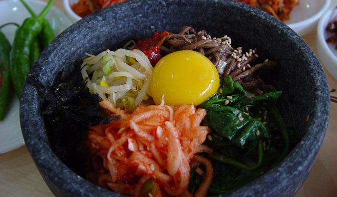 A bowl of vegetarian korean food