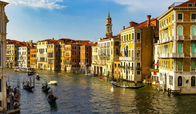 The winding canals and colorful buildings of Venice, Italy