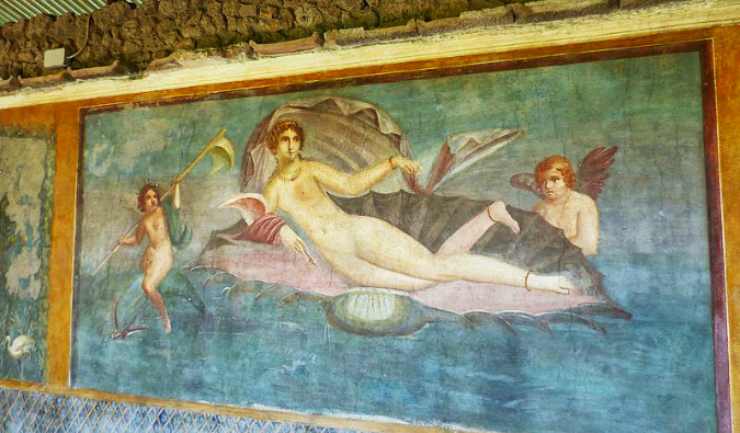 A colorful frescoes of Venus in the shell in Pompeii, Italy
