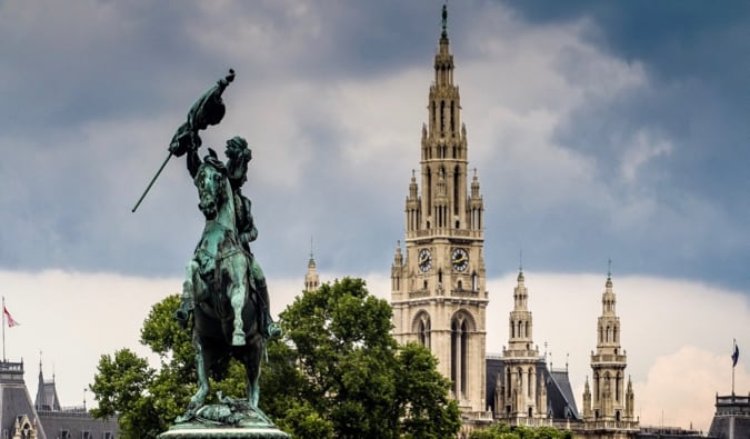A historic statue and towering cathedral in Vienna, Austria