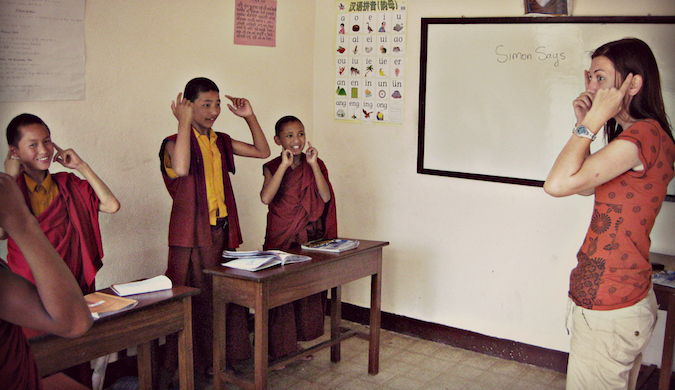 Shannon O'Donnell teaching English to child monks in Asia