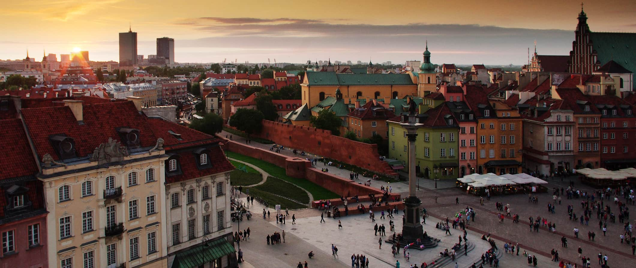 sunset view over Warsaw, Poland