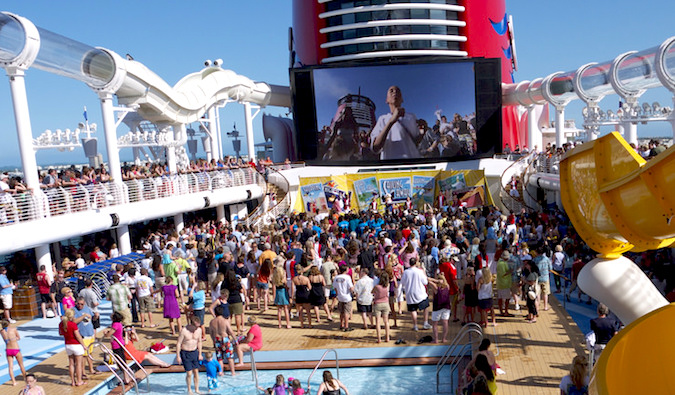 people gathered on a cruise ship