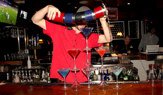 bartender performing tricks